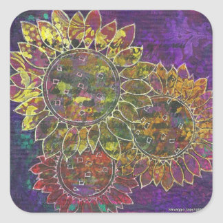 batik sunflowers square sticker