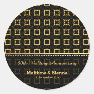 Batik Wedding Anniversary Round Sticker