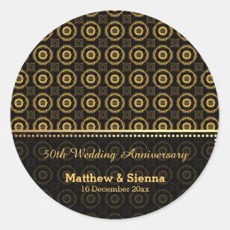Batik Wedding Anniversary Round Stickers