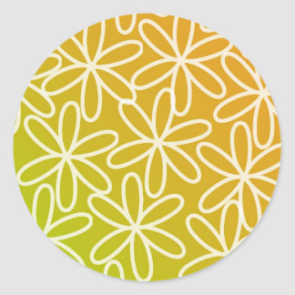 Batik - Yellow Round Sticker