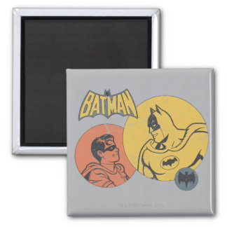 Batman And Robin Graphic - Distressed Square Magnet