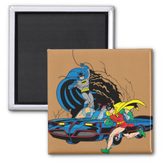 Batman And Robin In Batcave Square Magnet