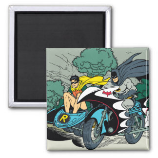 Batman And Robin In Batcycle Square Magnet