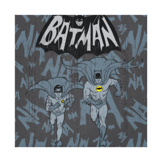 Batman And Robin With Logo Distressed Graphic Canvas Print