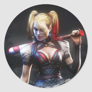 Batman Arkham Knight | Harley Quinn with Bat Classic Round Sticker