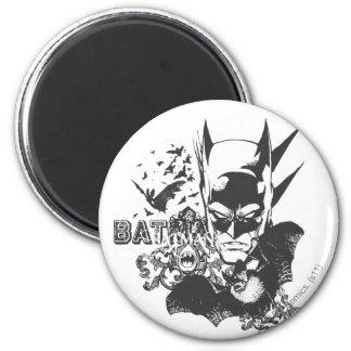Batman avec la vraie batte magnet rond 8 cm