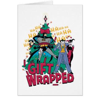 Batman | Batman & Robin Gift Wrapped To XMas Tree Card