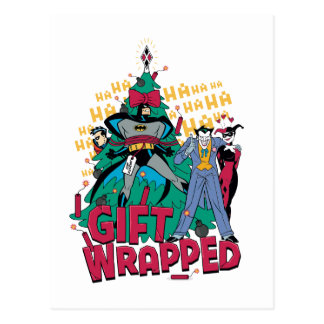 Batman   Batman & Robin Gift Wrapped To XMas Tree Postcard