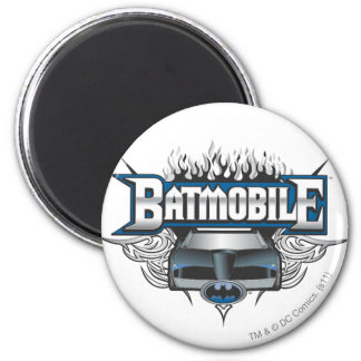 Batman Car and Flames 2 Inch Round Magnet