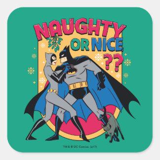 Batman   Catwoman Under Mistletoe Naughty Or Nice Square Sticker