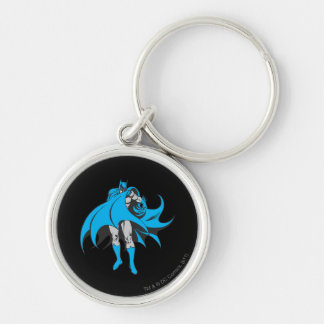 Batman Covers Face Silver-Colored Round Keychain