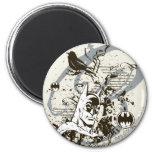 Batman Dark Knight Manuscript Montage 2 Inch Round Magnet