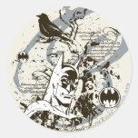 Batman Dark Knight Manuscript Montage Round Sticker