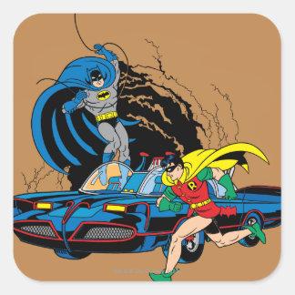 Batman et Robin dans Batcave Sticker Carré