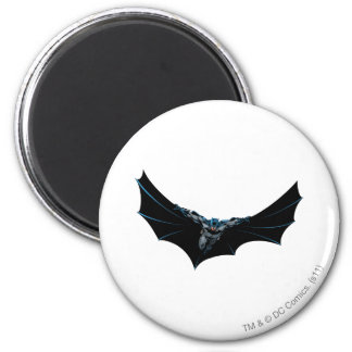 Batman flys with large cape 2 inch round magnet
