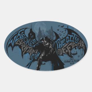Batman Gotham City Paint Drip Graphic Oval Sticker
