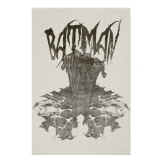 Batman | Graphic Novel Pencil Sketch Beige Logo Poster