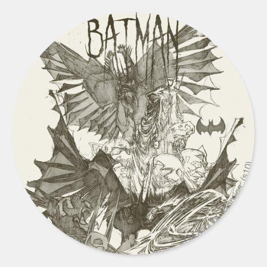 Batman Graphic Novel Pencil Sketch Round Sticker