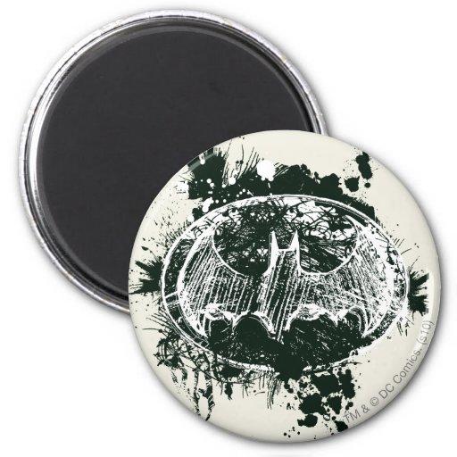 Batman Grunge Splatter Sketch 2 Inch Round Magnet