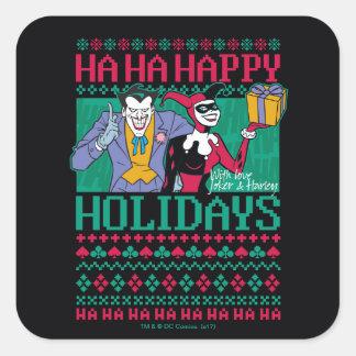 Batman | Happy Holidays Joker & Harley Quinn Square Sticker