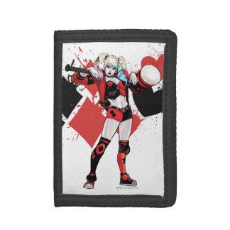 Batman   Harley Quinn Hearts & Diamonds Splatter Trifold Wallet