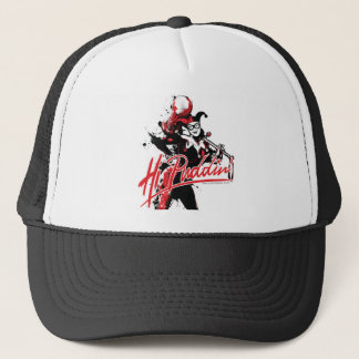 "Batman | Harley Quinn ""Hi Puddin'"" Ink Art Trucker Hat"