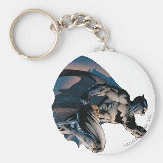 Batman Leaping Side View Basic Round Button Keychain