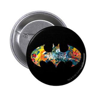 Batman Logo Neon/80s Graffiti 2 Inch Round Button