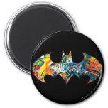 Batman Logo Neon/80s Graffiti 2 Inch Round Magnet
