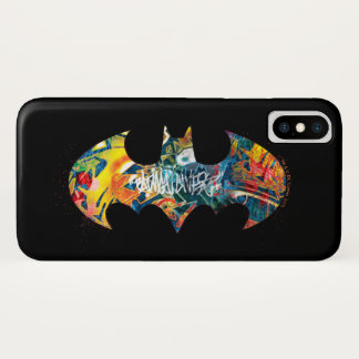 Batman Logo Neon/80s Graffiti iPhone X Case