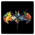 Batman Logo Neon/80s Graffiti Square Wall Clock