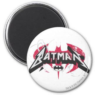 Batman logo rouge et noir de   magnet rond 8 cm