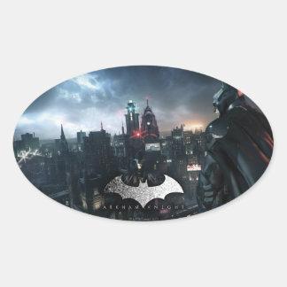 Batman Looking Over City Oval Sticker