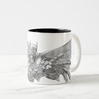 Batman Lunging Forward Drawing 2 Two-Tone Coffee Mug