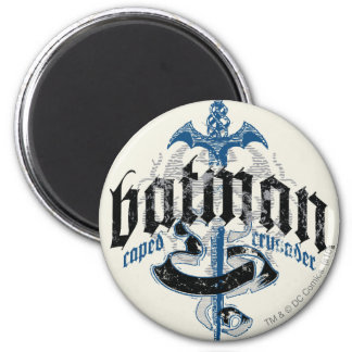 Batman | Name with Sword Logo 2 Inch Round Magnet