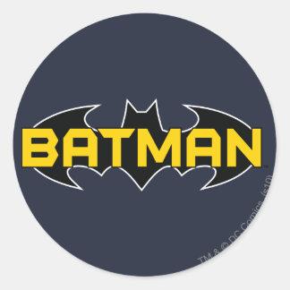 Batman Name Yellow and Black Background Round Sticker
