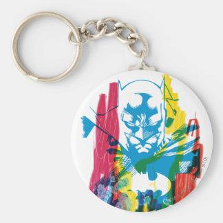 Batman Neon Marker Collage Basic Round Button Keychain