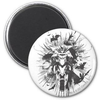 Batman on bike with bats 2 inch round magnet