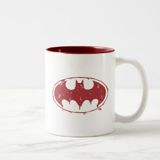 Batman   Oozing Red Bat Logo Two-Tone Coffee Mug