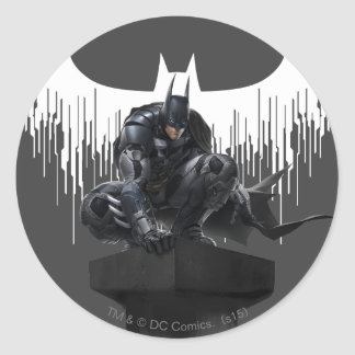 Batman Perched on a Pillar Round Sticker