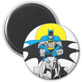 Batman Perches On Stone Lion Magnet