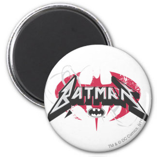 Batman Red and Black Logos 2 Inch Round Magnet