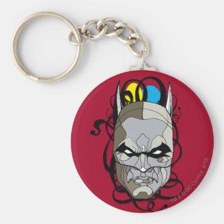 Batman Stained Glass Pen & Ink Basic Round Button Keychain