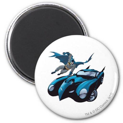 Batman swings over fridge magnet