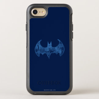 Batman Symbol | Sketchbook Light Blue Logo OtterBox Symmetry iPhone 8/7 Case