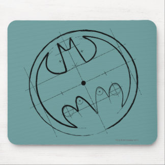 Batman Symbol   Technical Sketch Logo Mouse Pad
