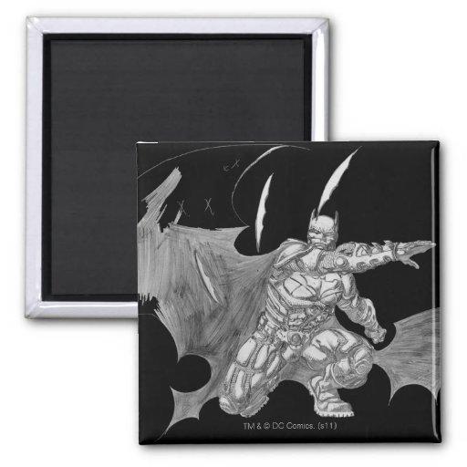 Batman Throwing Batarangs Drawing Refrigerator Magnets
