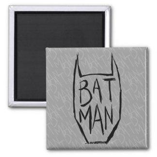 Batman Type in Head Square Magnet