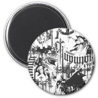 Batman Urban Legends - Caped Crusader Pattern BW 2 Inch Round Magnet