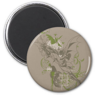 Batman Urban Legends - Green/Taupe Batman Swinging 2 Inch Round Magnet